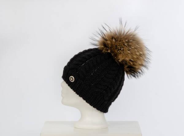 Alpakazopfmütze schwarz mit Finnraccoon natur
