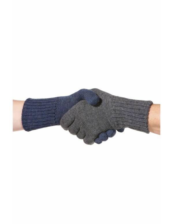 Fingerhandschuhe blau-grau Alpaka Wendbar UNISEX